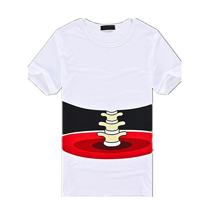e9ae50cda Fashion Men's 3D Bone Print Round Neck Short Sleeve T-shirt-White ...