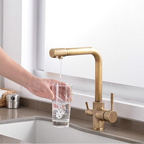 Kitchen Faucets Solid Brass Crane For Kitchen Purified Water Filter Tap Three Ways Sink Mixer 3 Way Kitchen Faucet ELM13 HLI