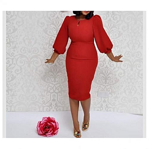 Puffy Sleeve Midi Dress - Red