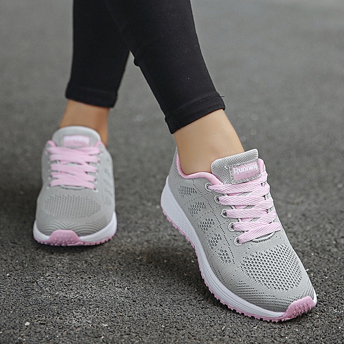 Women Mesh Round Cross Straps Flat Sneakers Running Shoes Casual Shoes(UK  Size) 4277306b9