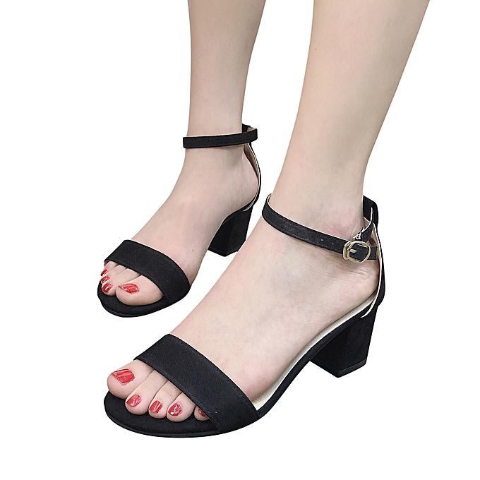 63462e8bb0c LightningFashion Women Ladies Sandals Ankle Mid Heel Block Party Open Toe  Shoes -Black
