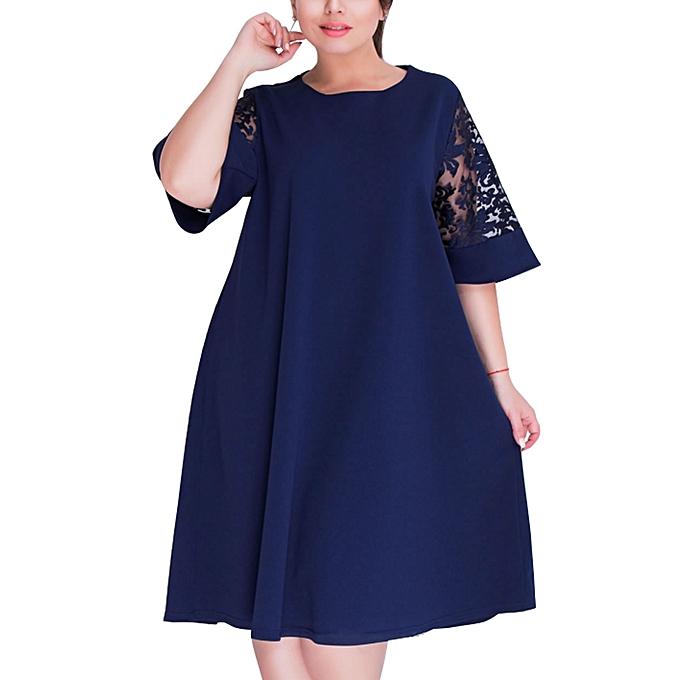 c92e12cbe01 Office Midi Dress Short Sleeve Elegant Lace Loose Elegant Vestidos Sheath  Ladies