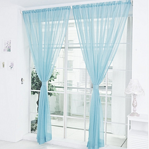 CO Solid Color Tulle Translucent Window Curtain Drape Panel Sheer Scarf Valances-peacock Blue