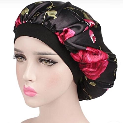 Satin Bonnet Stay On Sleep Cap - Rose Design