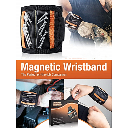 Magnetic Wristband Adjustable Wrist Strap For Holding Screws, Nails And Other Small Metal Parts (15 Magnets)