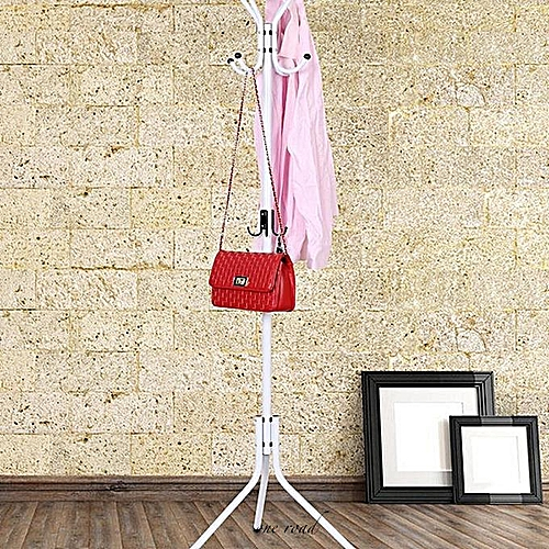 Clothes Rack Rack Tree Clothes Rack Hat Rack Hall Metal Hook Umbrella Storage Place White