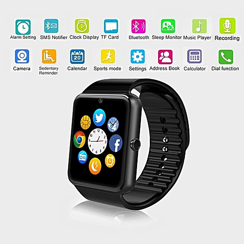 Waterproof Smartwatch Bluetooth With LED Alitmeter Music Player Pedometer For Android (black)