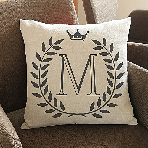 Africanmall Store Letters Pattern Cotton Linen Cushion Cover Throw Pillow Case Sofa Home Decor M- Multicolor