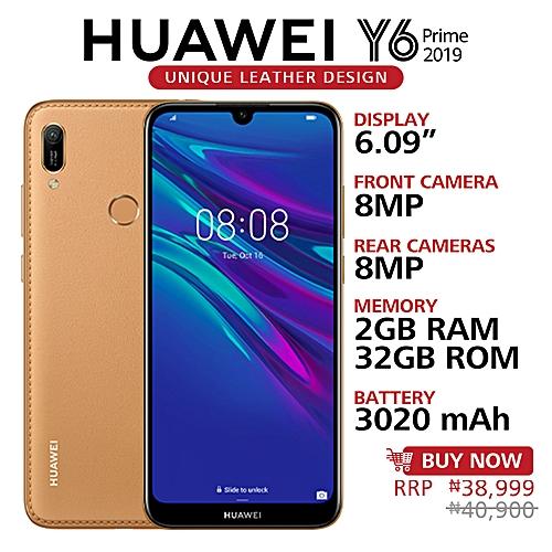 Y6 Prime 2019 6 09-Inch HD+ Dewdrop (2GB,32GB ROM) Android 9 0 Pie, 13MP +  8MP Dual SIM 4G 3020mAh Smartphone - Amber Brown