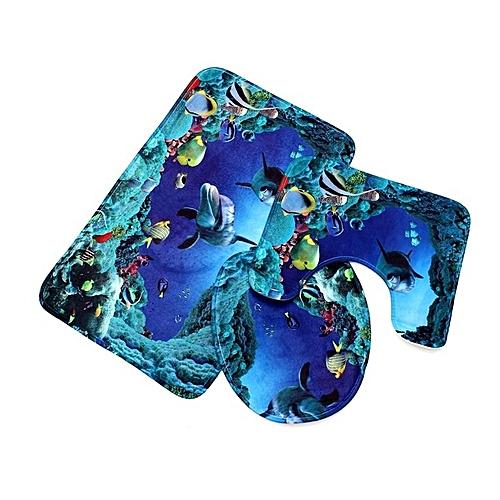 Three-piece Shark Print Bathroom Anti-slip Mat Blue