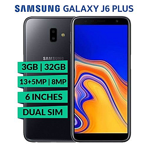 Galaxy J6 Plus - 6 Inch (32GB ROM + 3GB RAM) Android 8.1 Oreo, Dual Rear 13MP+ 5MP, 8MP Selfie Dual SIM 4G Smartphone - Black (ES19)