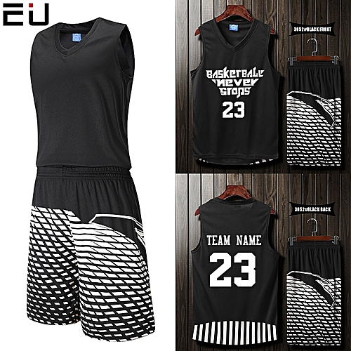 Eufy Blank Customized Casual Men's Basketball Team Sport Jersey Uniform-Black(3052)