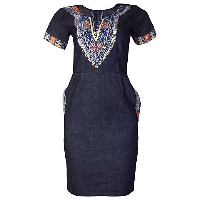 9622f82ae78 Amak Ankara Jeans Gown- Blue   Jumia NG