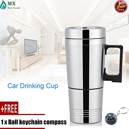 [free Gift] 12V/24V 300ml Car Electric Coffee Tea Water Mug Vehicle Heating Drinking Cup Bottle 12V