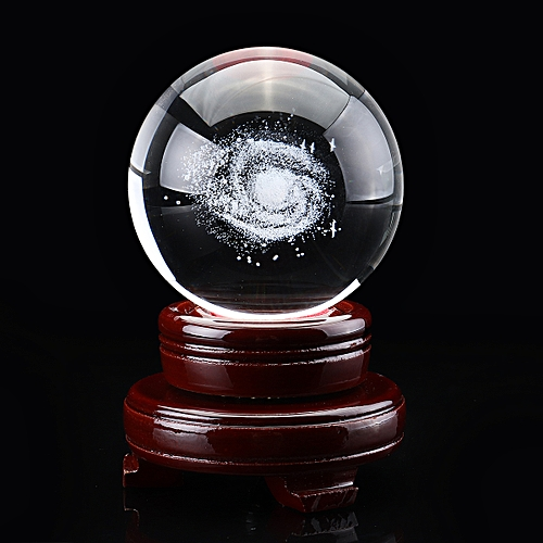 70mm/80mm Clear Glass Engrave Galaxy Crystal Ball Galaxy With Wooden Base Gift