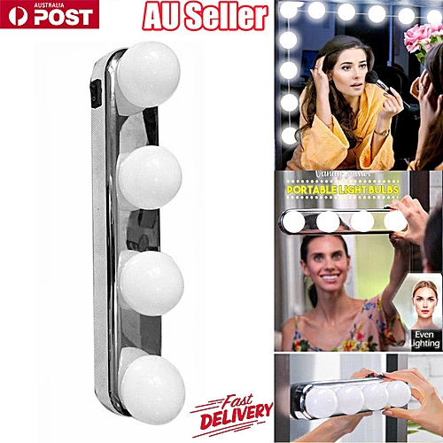 4 Bulbs Mirror LED Light Portable Suction Cups Batteries Powered Makeup Lamp
