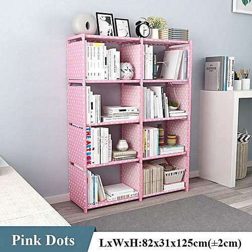 Double Row Adjustable Nonwoven Kids Bookshelf/ Dormitory /office/Home Sundries Storage Cabinet