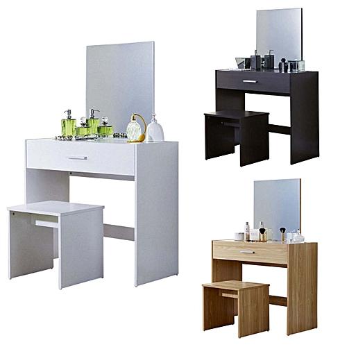 Vanity Dressing Table With Stool & Mirror White Oak Dark 1 Drawer Dresser