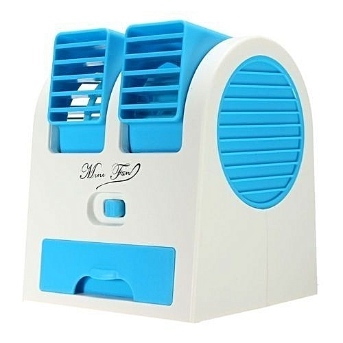 Mini Small Fan Cooling Portable Desktop PC Dual Bladeless Air Conditioner USB Blue