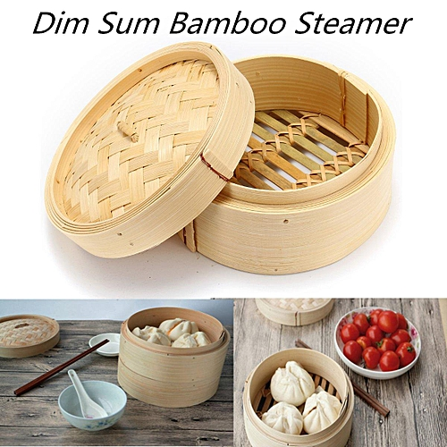 2 Pcs Set 6'' Bamboo Steamer Basket Homemade Food Rice Cooker Dim Sum Bamboo Lid