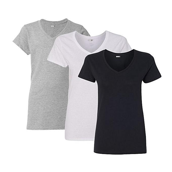 e51b4d6c Rukari Female Essentials V-Neck T-Shirt Combo (Pack Of 3) | Jumia NG