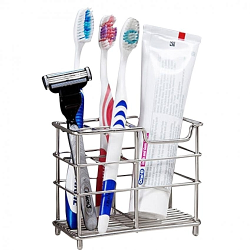 Stainless Steel Stand Bathroom Toothbrush Toothpaste Holder Organizer