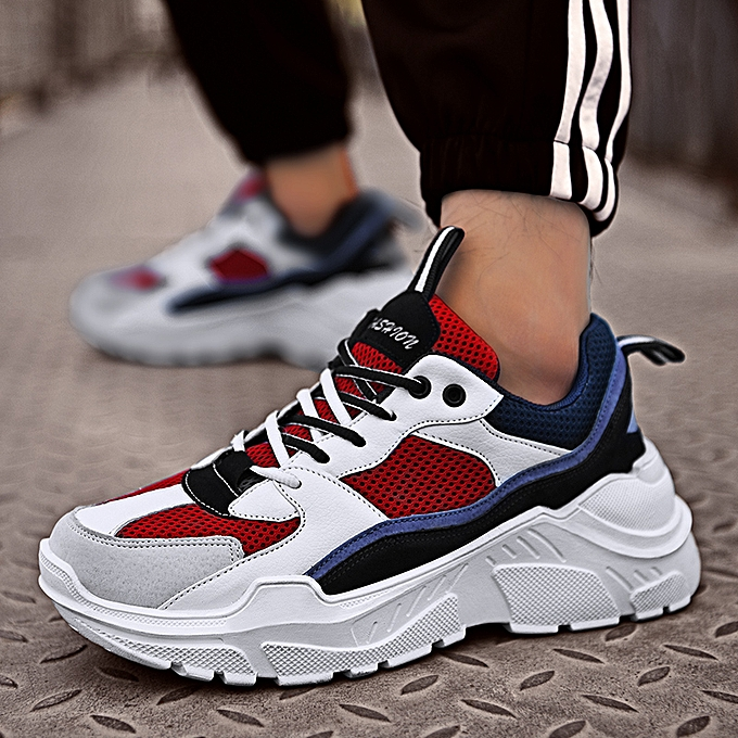 0ae4e005032 Mens Sneakers With Thick Bottom Couple Sneakers Red