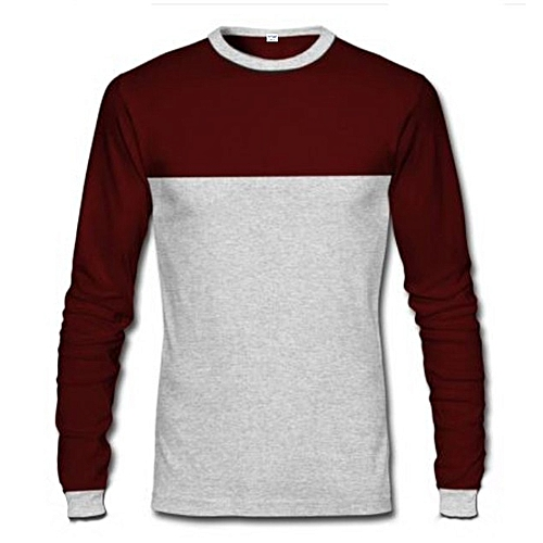Long Sleeve T-Shirt - Wine & Grey