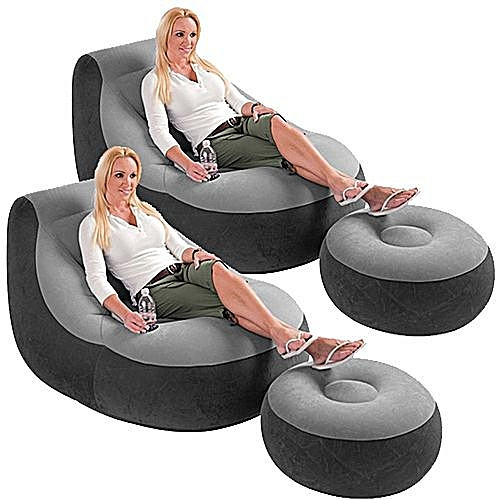 Inflatable Lounge Chair And Foot Rest With FREE Pump