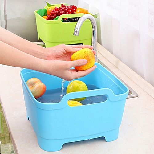 Vegetable, Fruits Storage Basket With Cover, Blue