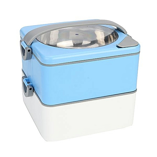 Creative Stainless Steel Water Infusion Lunch Box Japanese Insulation Pot Heat Lunch Box Double Lunch Box # Two Layers Blue
