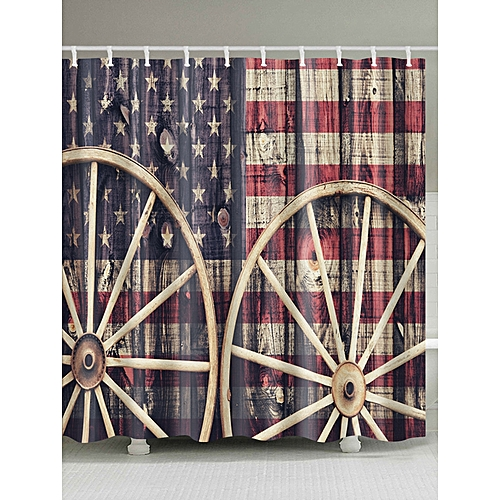 Distressed American Flag Fabric Shower Curtain