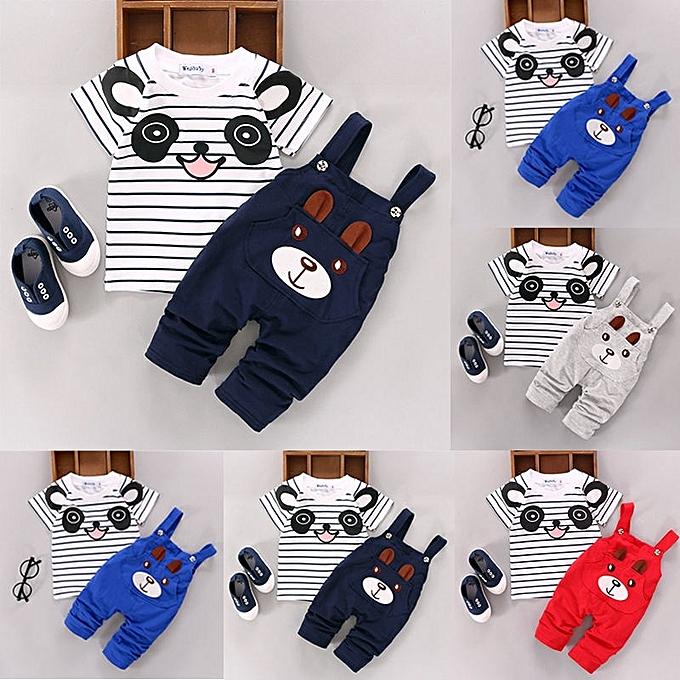 180a277b 2PCS Cartoon Bear Baby Boy Girls Clothes Set T-shirt+Overalls Pants Outfits  Suit