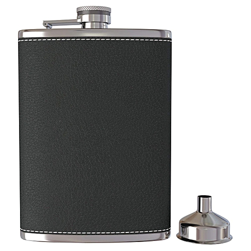 Pocket Hip Flask 8 Oz With Funnel Stainless Steel With Black Leather Wrapped Cover And Leak Proof - Fits Any Suit For Discrete Liquor Shot Drinking