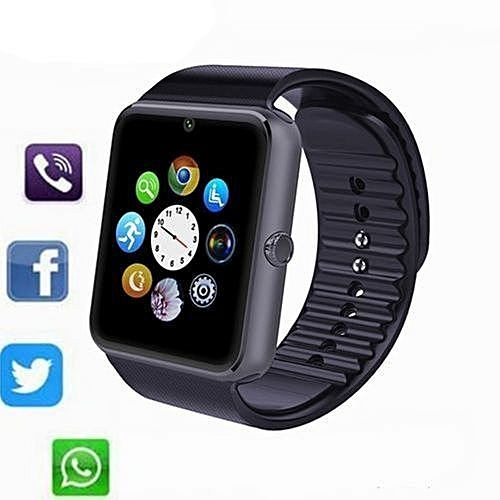 GT08 Smart Watch For IPhone IOS Android Phone Sim Card_Black