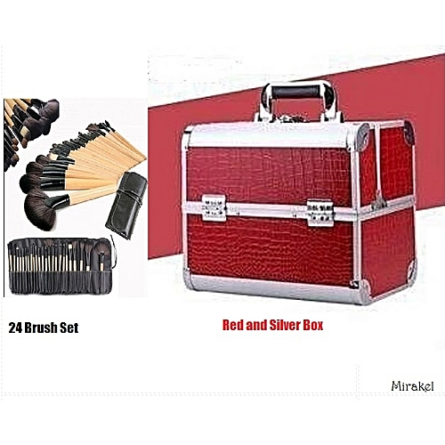 Make Up For Ever Professional Makeup Box - Red And Silver With 24pcs Makeup Brush Set
