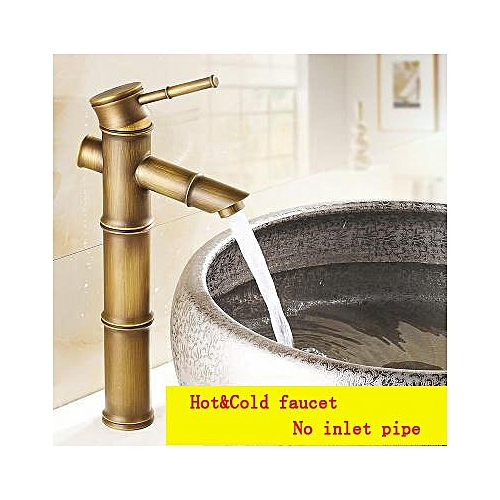 Antique 3 Section Of Bamboo Single Hole Water Tap, Vintage Brass Wash Basin Faucet Hot And Cold,Bathroom Sink Basin Faucet Mixer