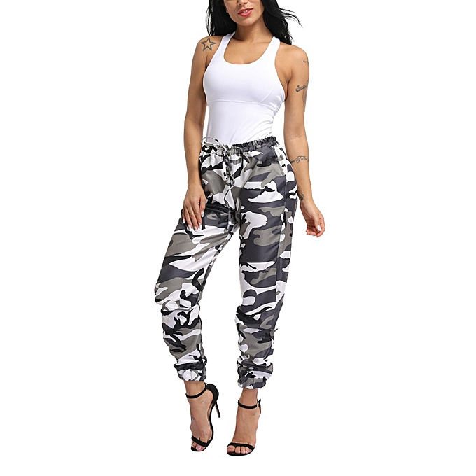 d8c82a03f3a98 Hiaojbk Store Women Sports Camo Cargo Pants Outdoor Casual Camouflage  Trousers -Army Green