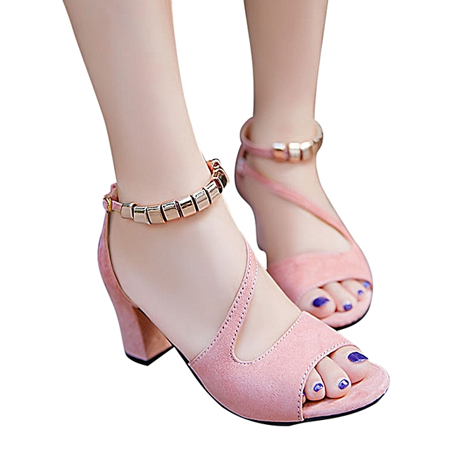 8deb63acb70 Bliccol High Heel Shoes Women Solid Color Peep Toe Buckle Square Heel  Sandals High Heeled Shoes
