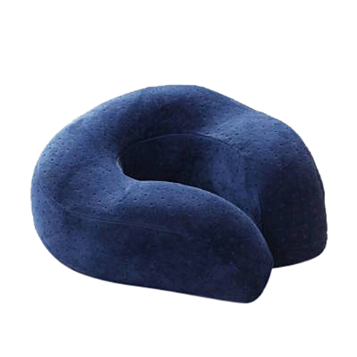 Whiskyky Store Memory Foam Comfort Neck Support Soft Velour Travel Cushion Pillow With Rucksack-Dark Blue