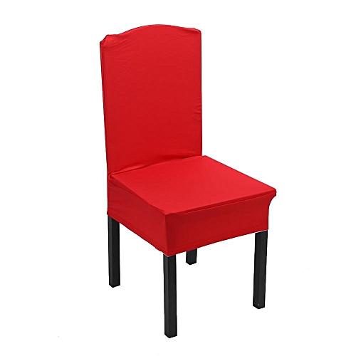 1Pc Elastic Home Chair Seat Covers Candy Colors Slipcover Wedding Chair-seating Decor- #Red