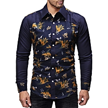 f2e5f40ca Men's Long Sleeve Printed Casual Button-Down Shirt ...
