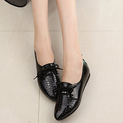 Women Four Seasons Single Shoes Casual Comfort Shoes Flat Shoes-Black (EU Sizing)