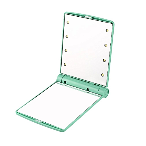 Folding Portable Make Up Mirror Lady Cosmetic Mirror Built-in LED Bulbs Mirror Mint Green