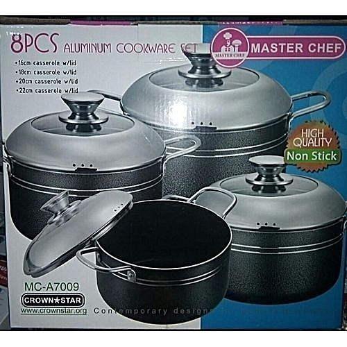 8pcs Non Stick Pot With Stainless Steel Cover Cookware Set