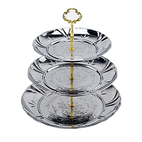 3-Tier Stainless Steel Candy Dessert Cupcake Fruit Plate Stand Plum Blossom Design - Silver + Golden S