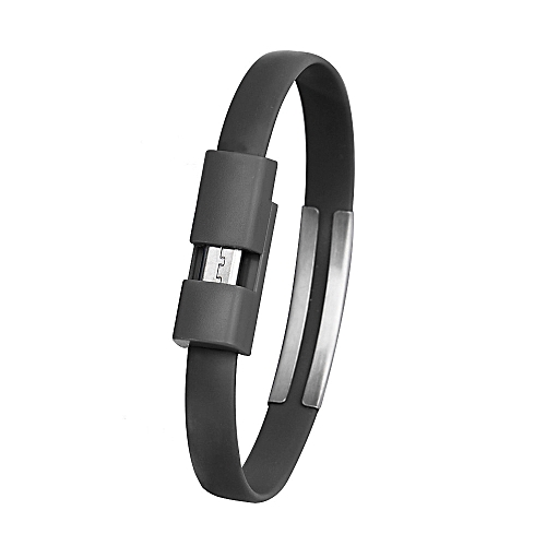 Wristband Micro USB Cable Charger Charging Data Sync For Cell Phone -Black