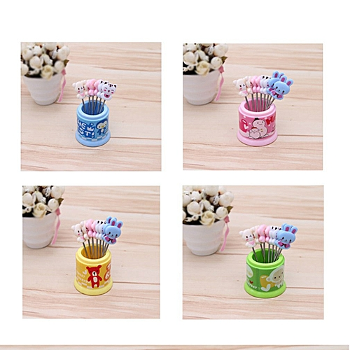 Cute Cartoon Stainless Steel Fruit Fork 8-pack Color Mixing Daily Supplies Random