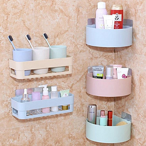 Bathroom Wall Corner Storage Rack Organizer Suction Shelves