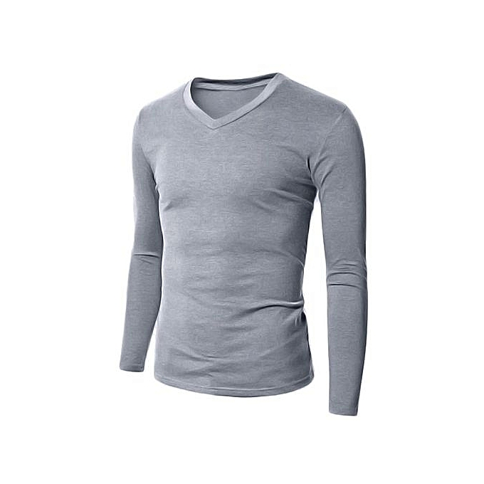 c09f38db0 Men's Casual Slim Fit Shirt V Neck Long Sleeve T-Shirts Plain Tops (Grey